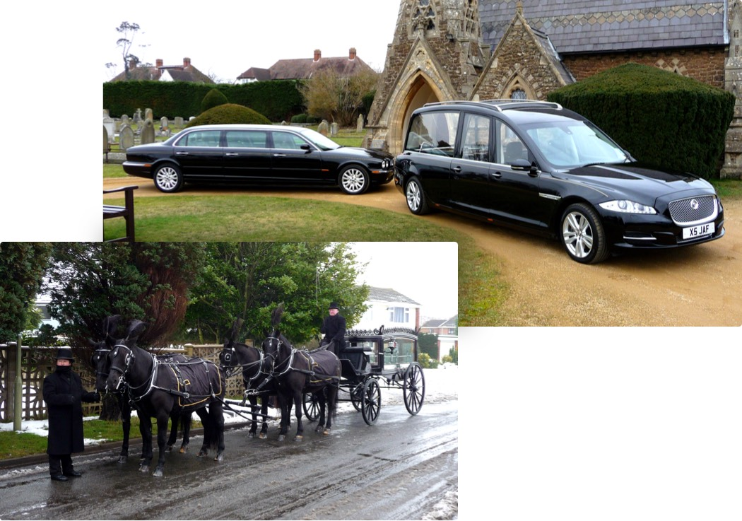 Modern hearse and traditional horse-drawn hearse.